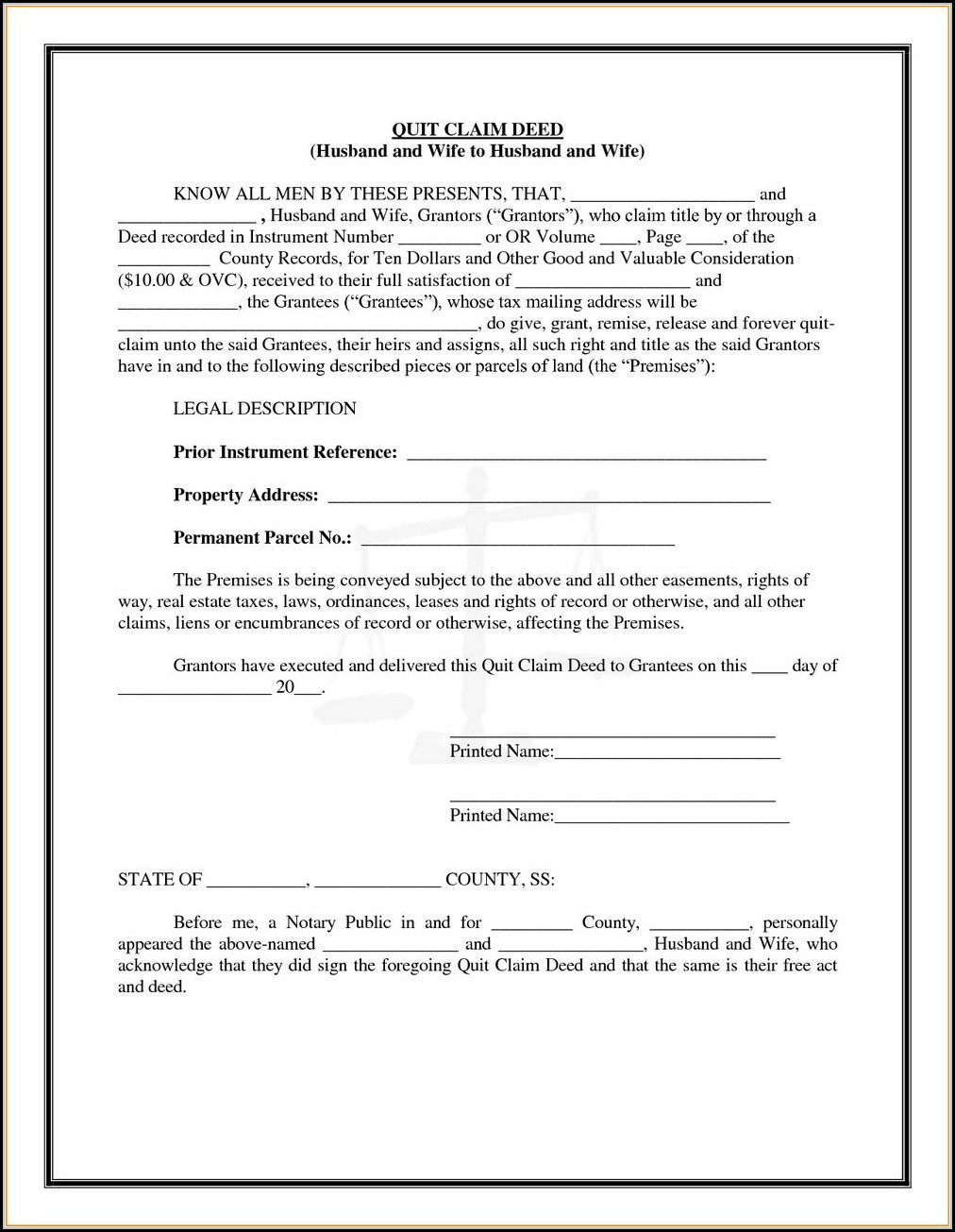 Quit Claim Deed Form Washington State