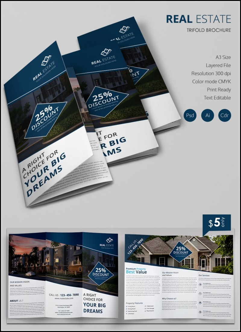 Real Estate Tri Fold Brochure Template Free