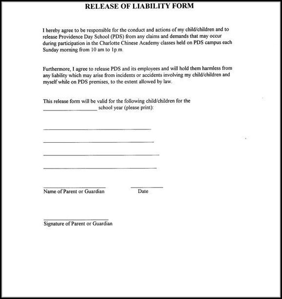 Release Of Liability Form Template Free