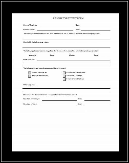 Respirator Fit Test Form