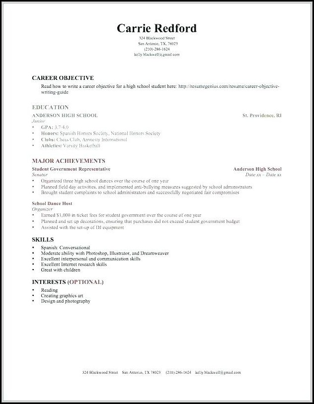 Resume Builder For Highschool Students With No Work Experience