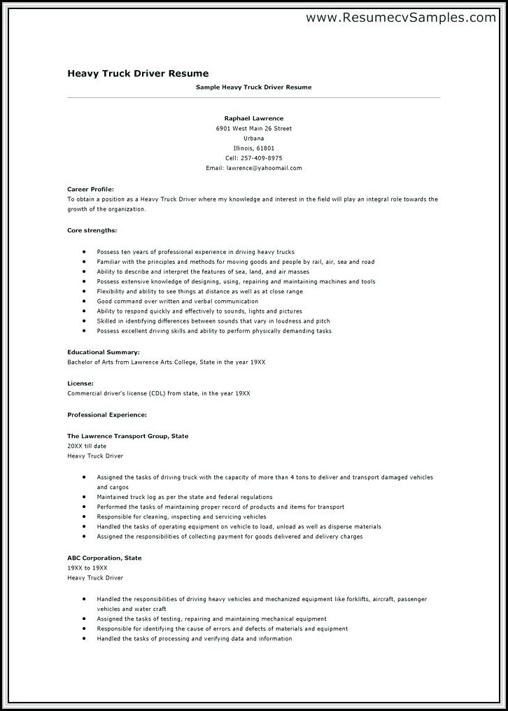 Resume For Truck Driver Position
