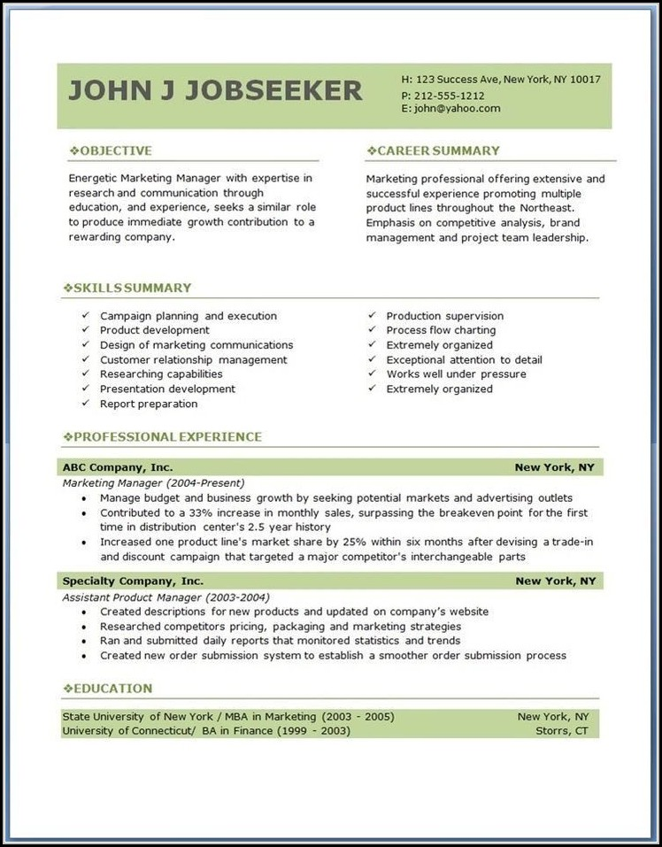 Resume Formats Free Download