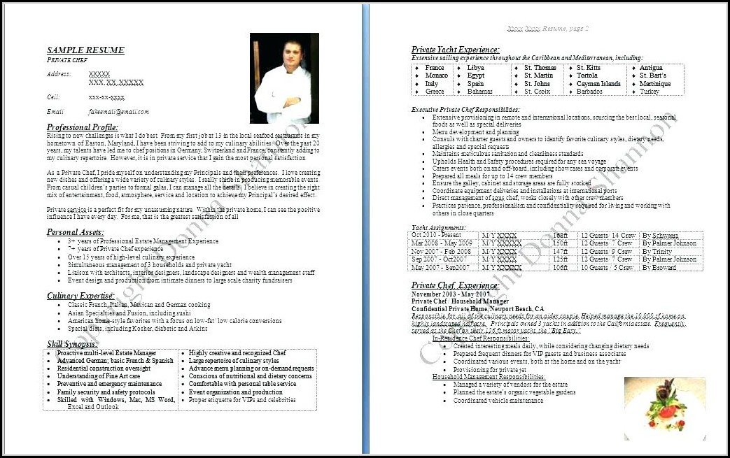 Resume Sample For Chef Position