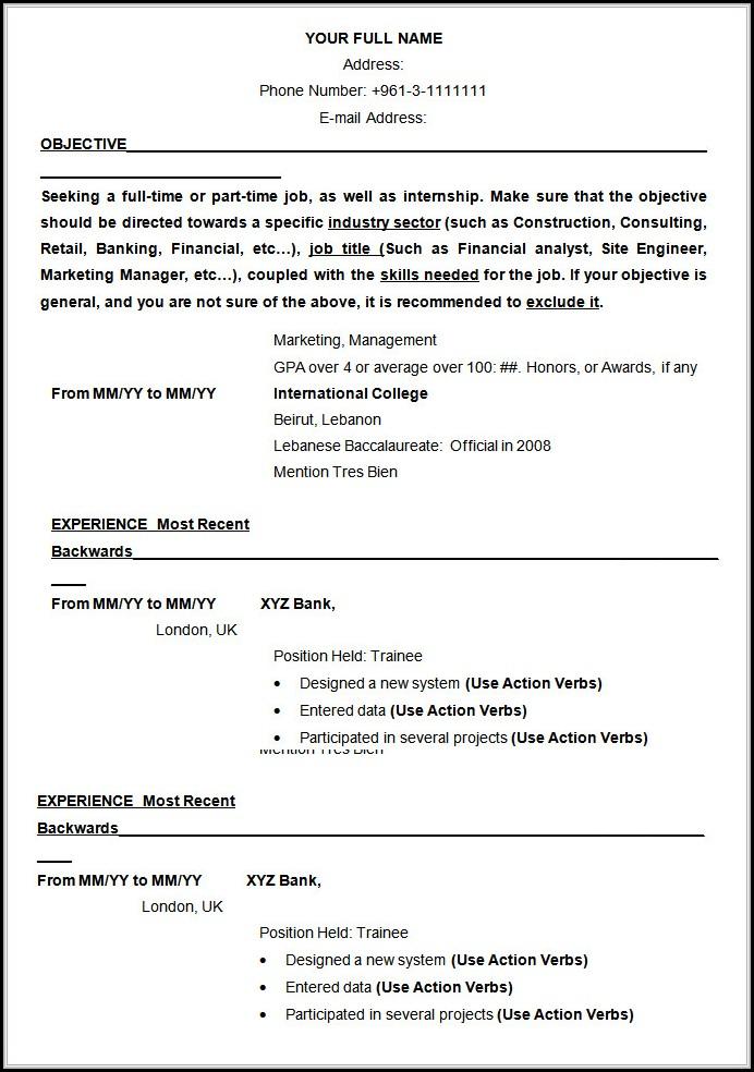 Resume Samples Free Download