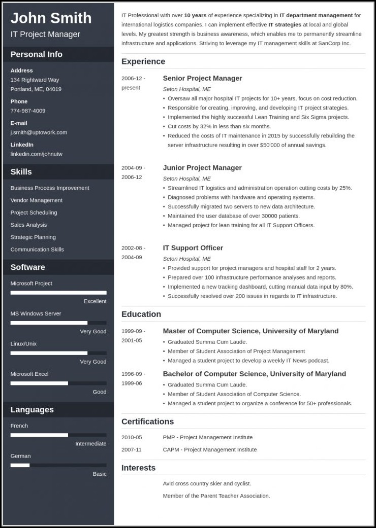 Resume Template Builder Online
