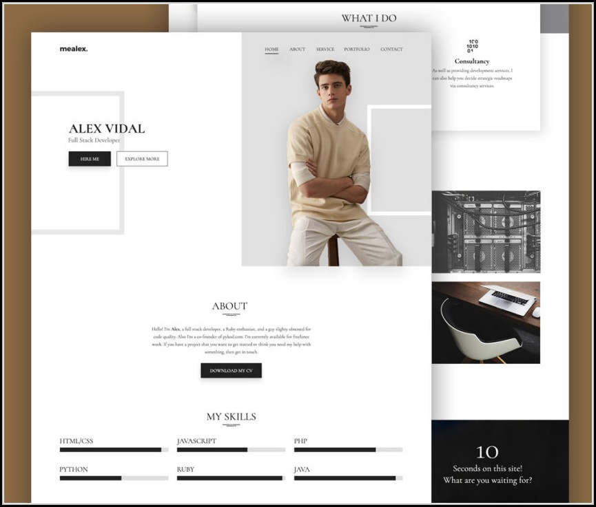 Resume Website Template Free