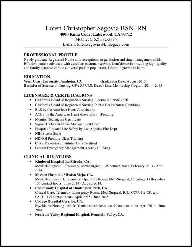 Resumes For Nurses New Grad