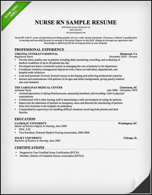 Resumes For Nurses