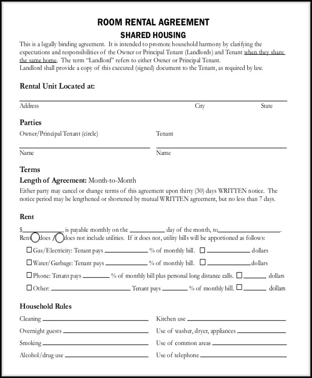 Room Rental Agreement Template Free
