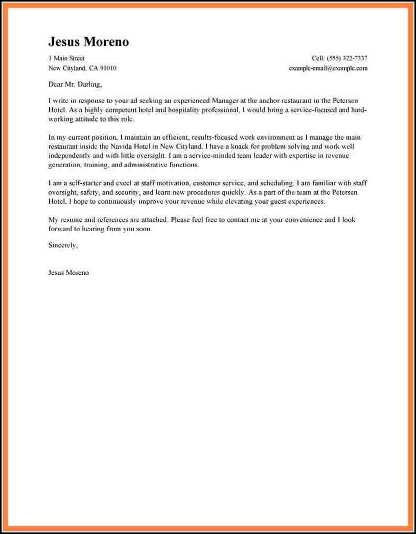 Sample Application Letter For Hotel And Restaurant Management
