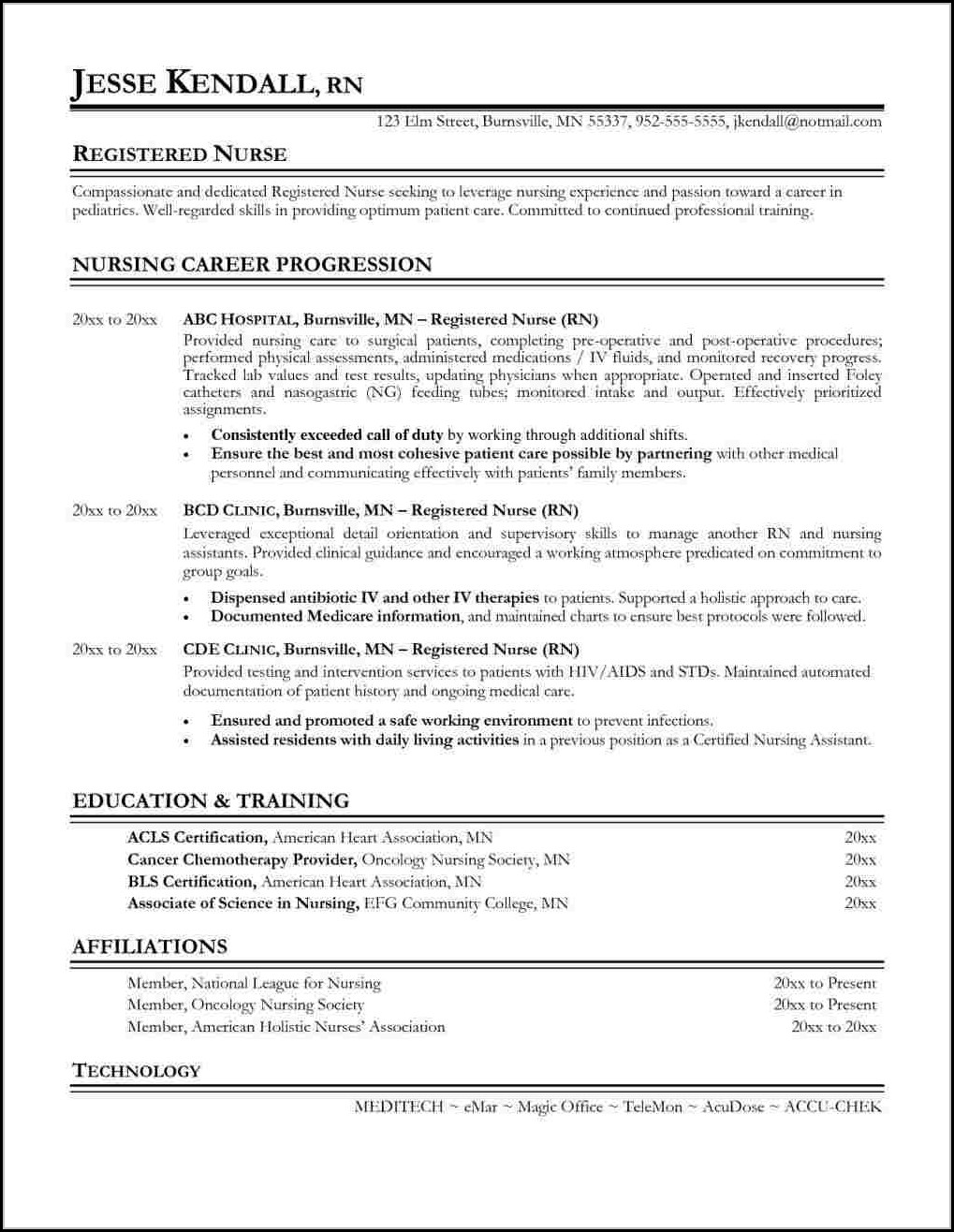 Sample Resume For A Registered Nurse