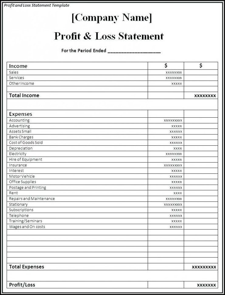 Simple Profit And Loss Template Excel