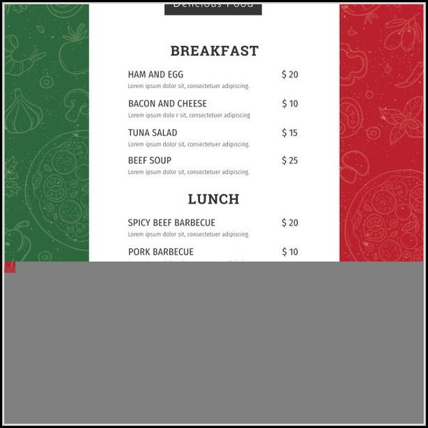 Simple Restaurant Menu Templates Free