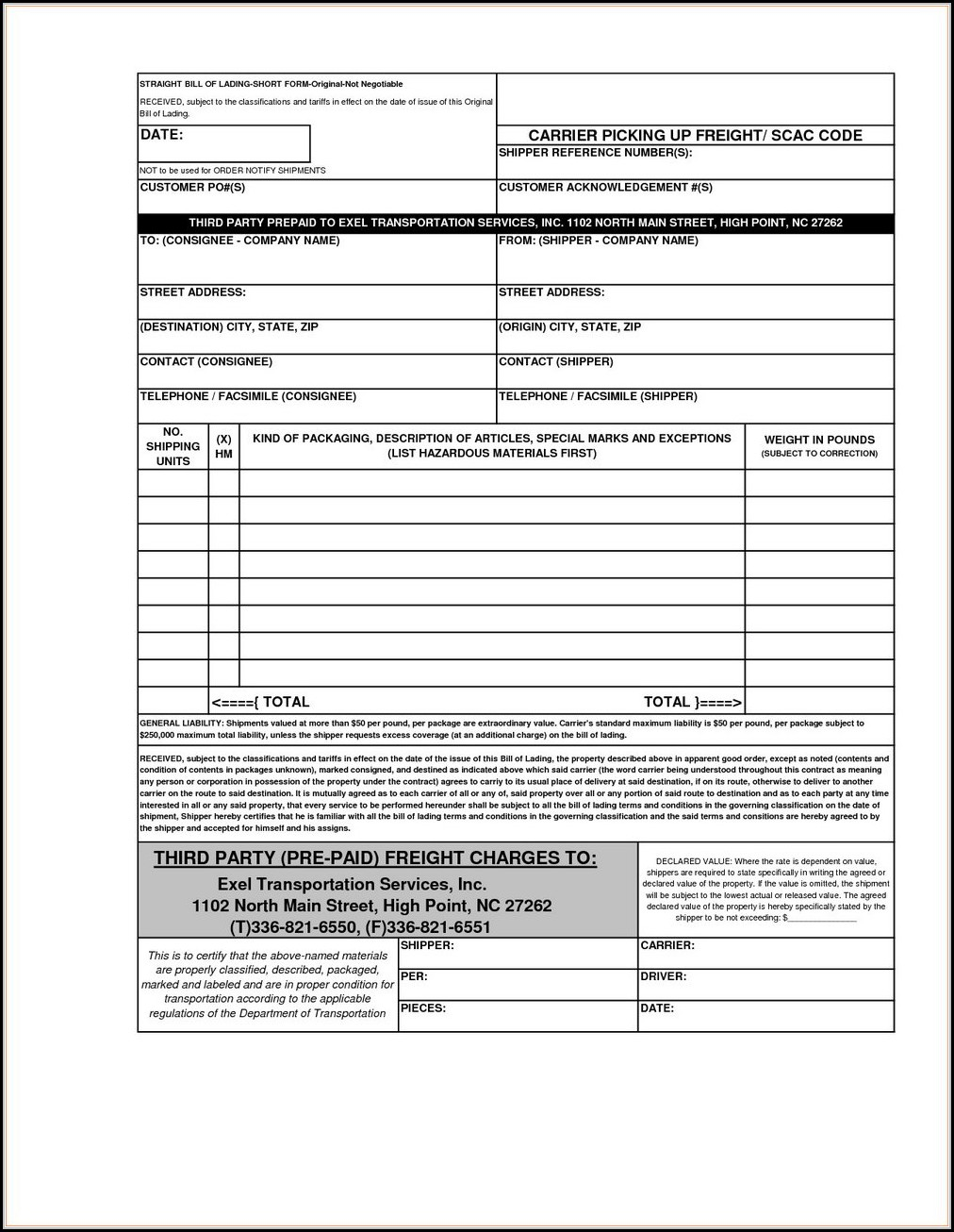 Straight Bill Of Lading Short Form Original Not Negotiable Template