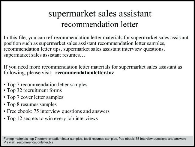 Supermarket Job Application Letter