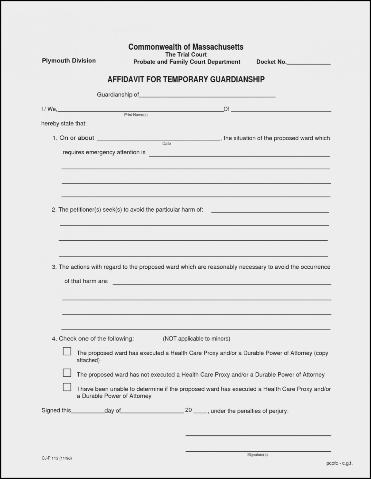 Temporary Guardianship Form Florida