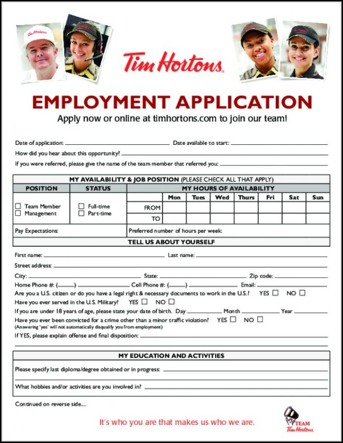 Tim Hortons Employment Application Form Canada