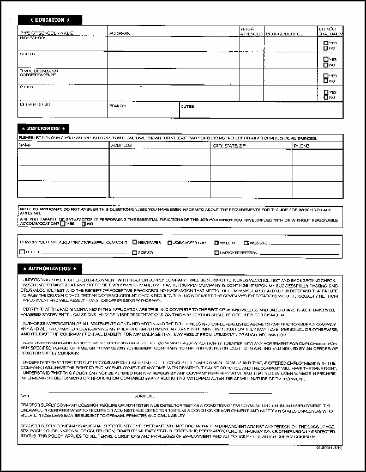 Tractor Supply Company Job Application