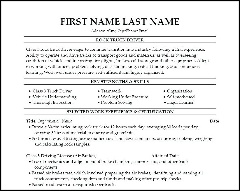Truck Driver Resumes Examples