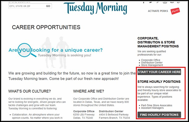 Tuesday Morning Job Application Online
