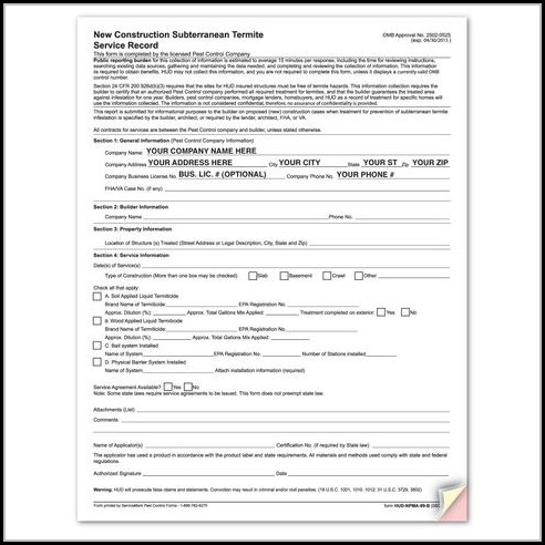 Va Termite Inspection Form
