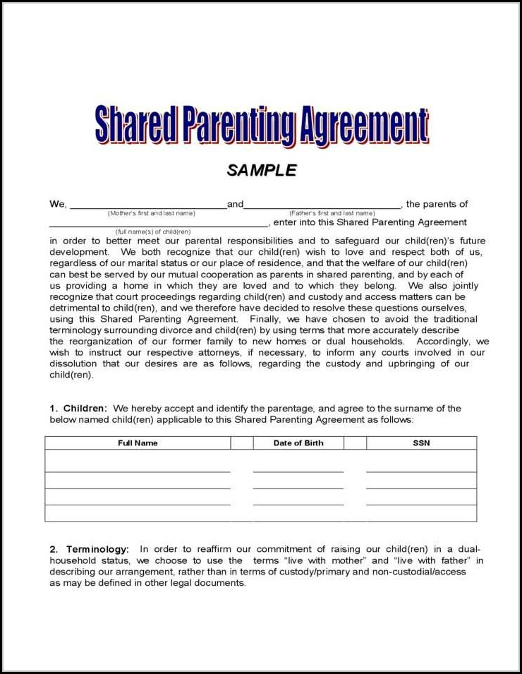 Voluntary Child Custody Agreement Form Florida