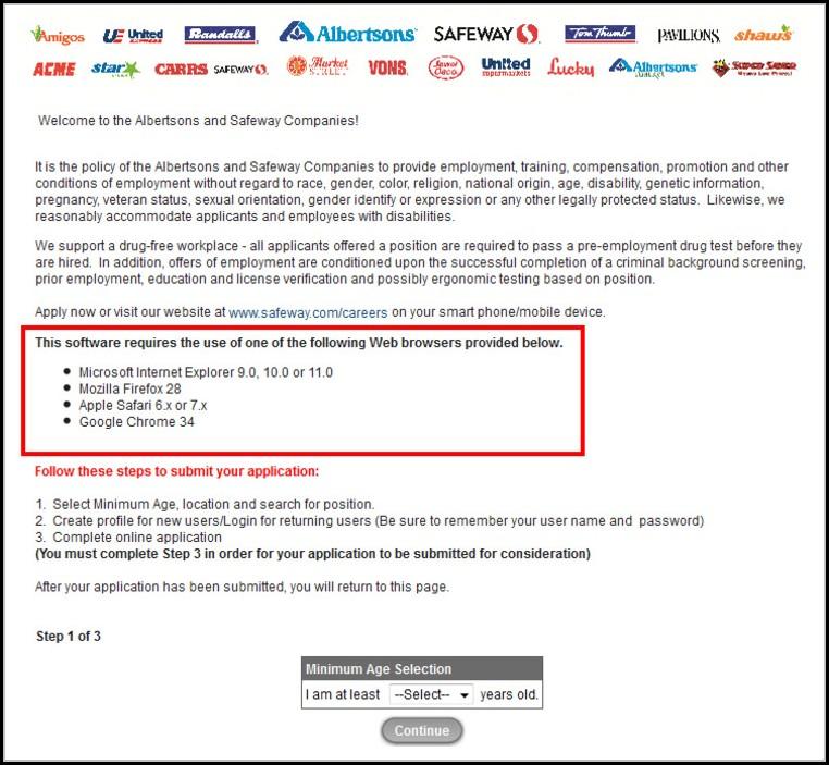 Vons Online Job Application