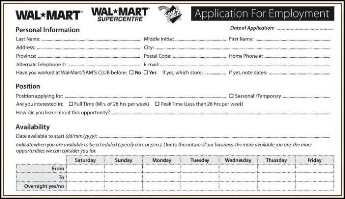 Walmart Job Application Form Print Out