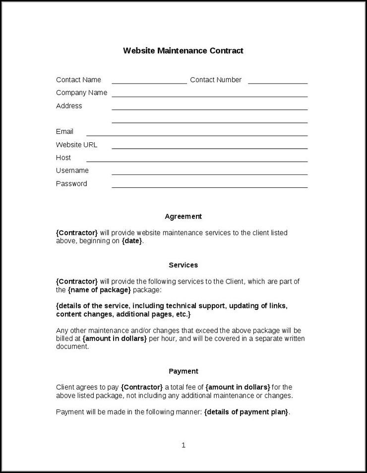 Website Maintenance Agreement Template
