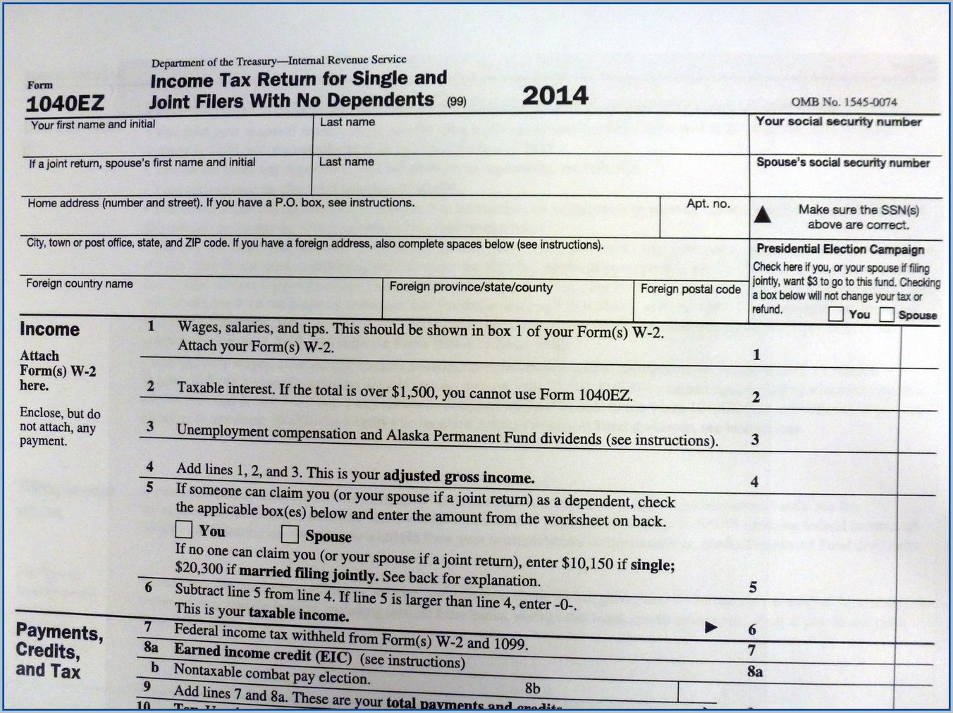1040ez Tax Forms To Print