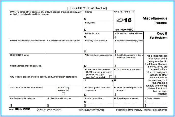 2016 Form 1099 Misc Printable