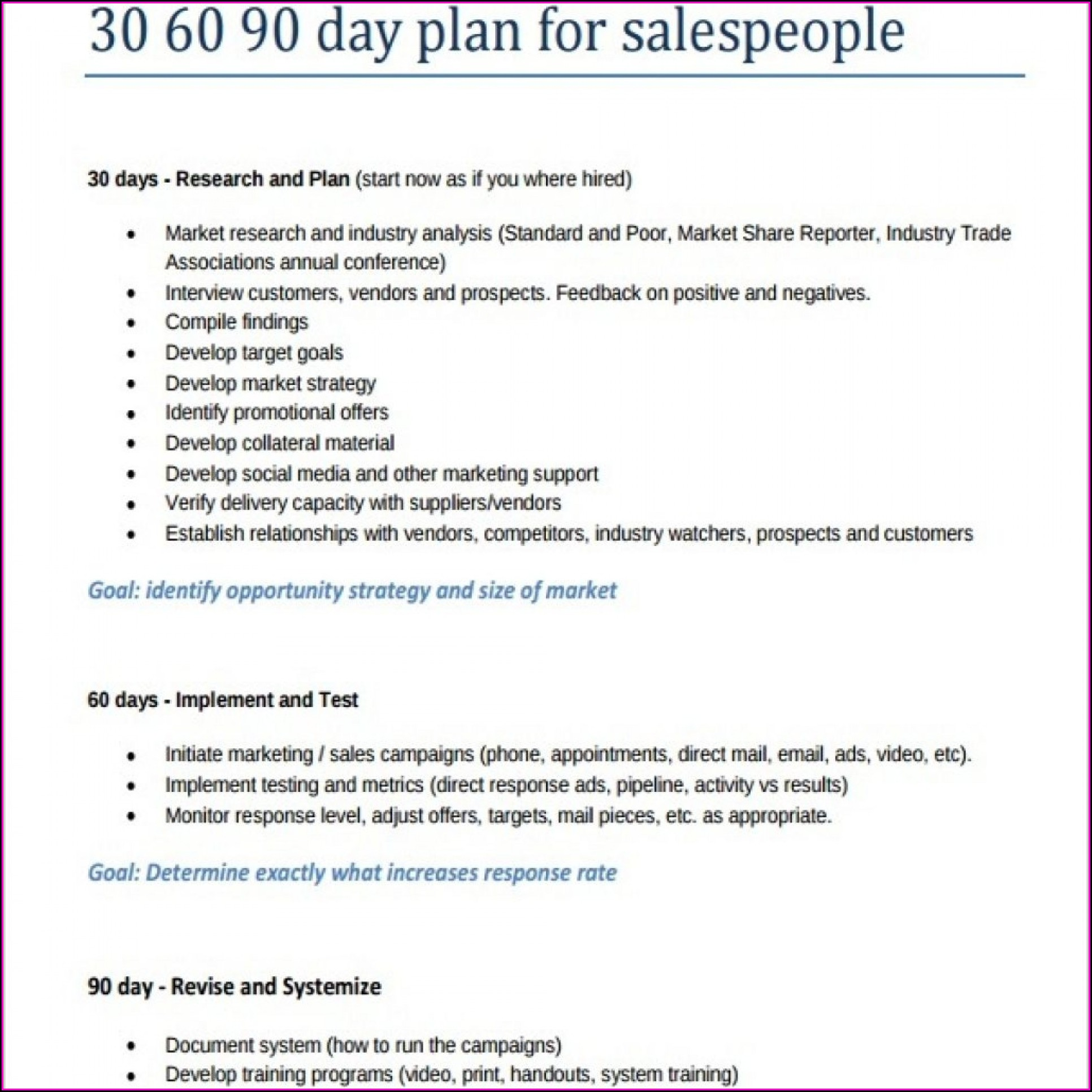 30 60 90 Day Marketing Plan Template Free