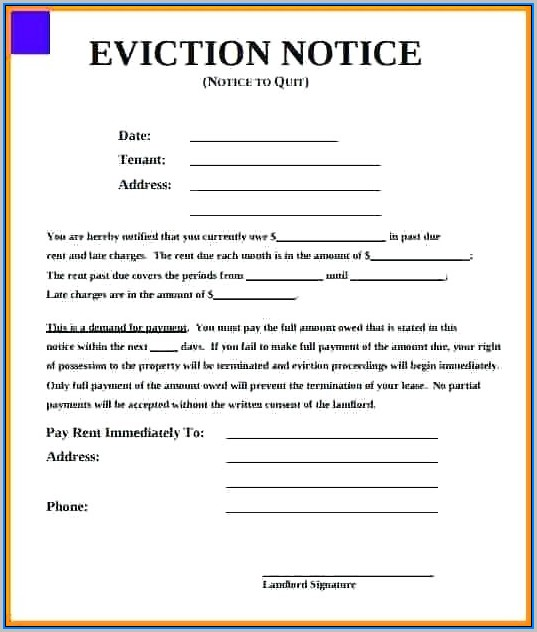 30 Day Eviction Notice Form Florida Free