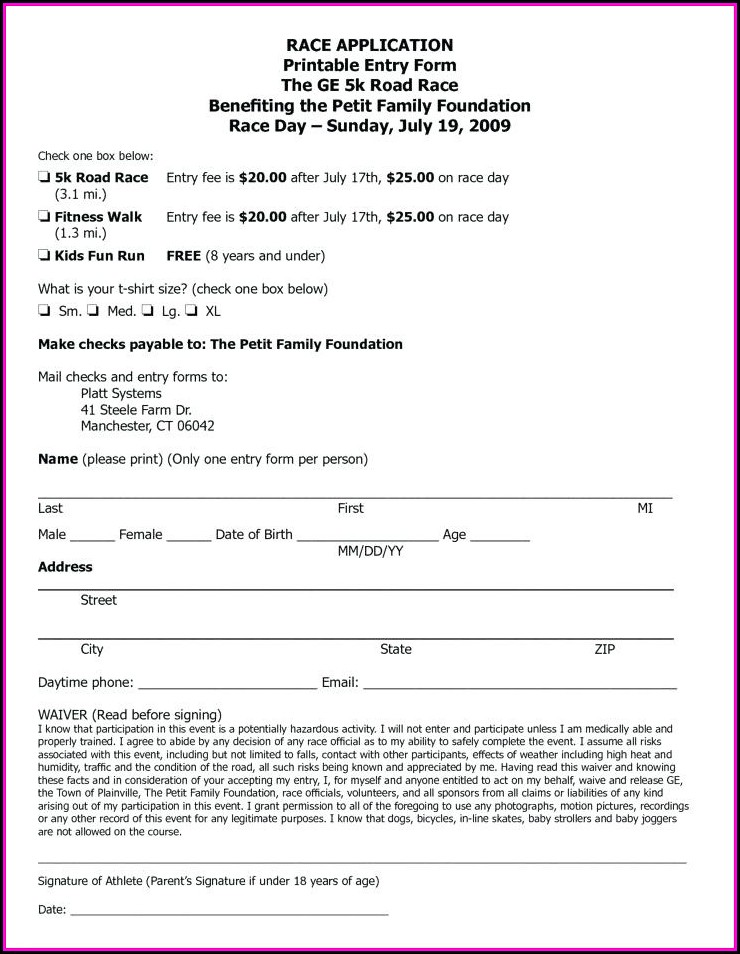 5k Registration Form Template Word