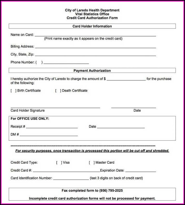 Ach Credit Authorization Form Sample