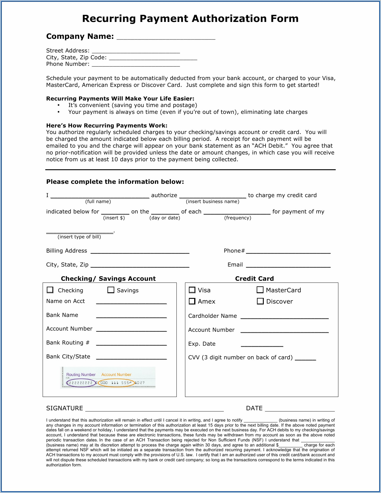 Ach Credit Authorization Form