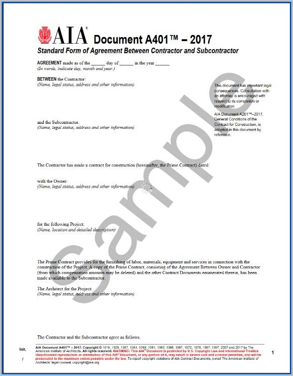 Aia Standard Form Of Agreement Between Contractor And Subcontractor