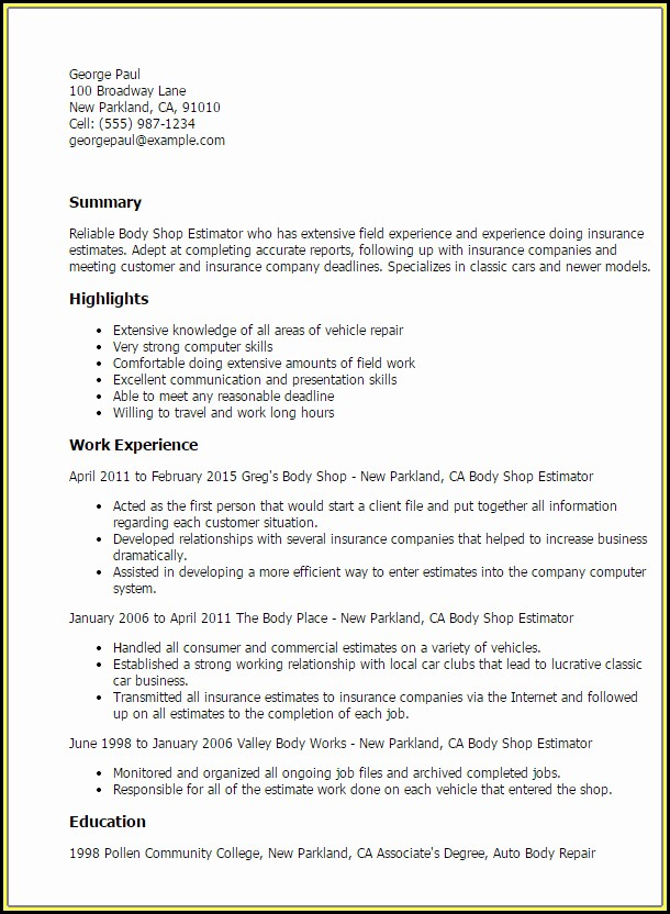 Auto Body Shop Estimator Resume