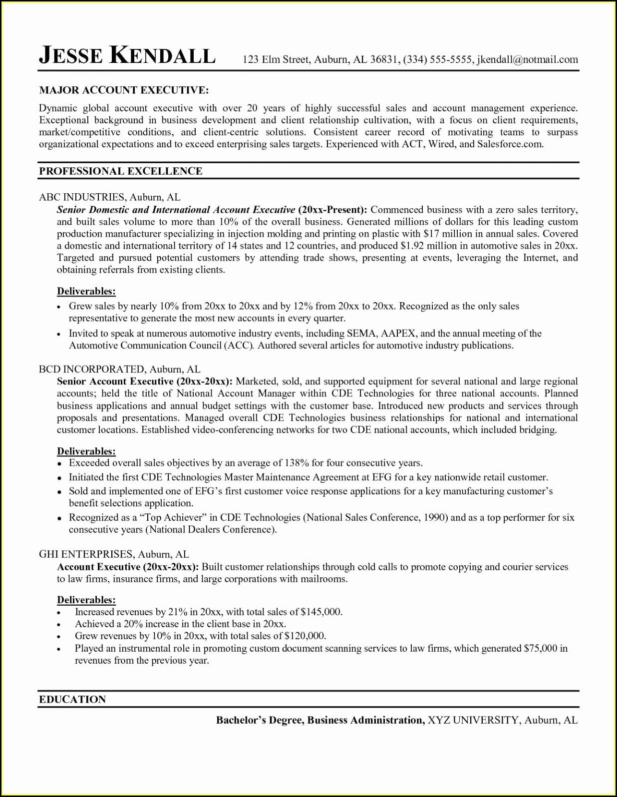 Best Resumes For Sales Executives