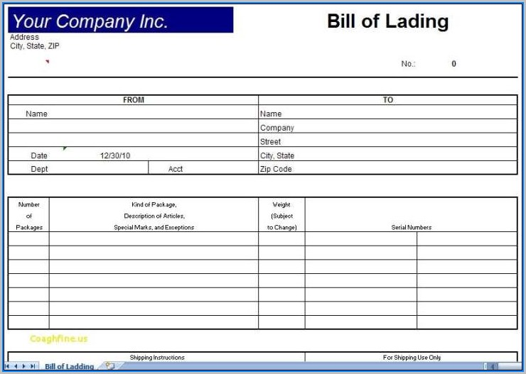 Blank Bill Of Lading Format