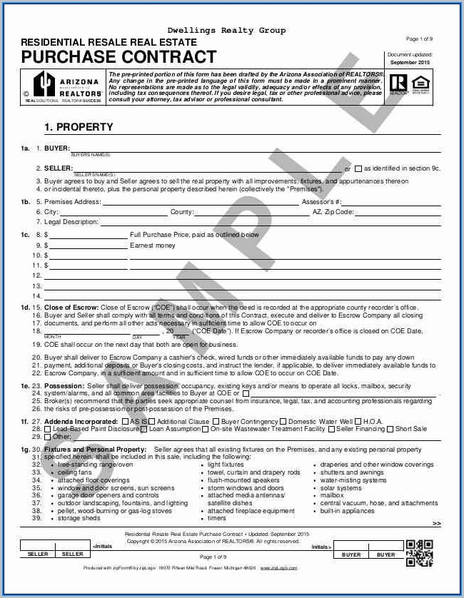 Blank Purchase Agreement Form Michigan