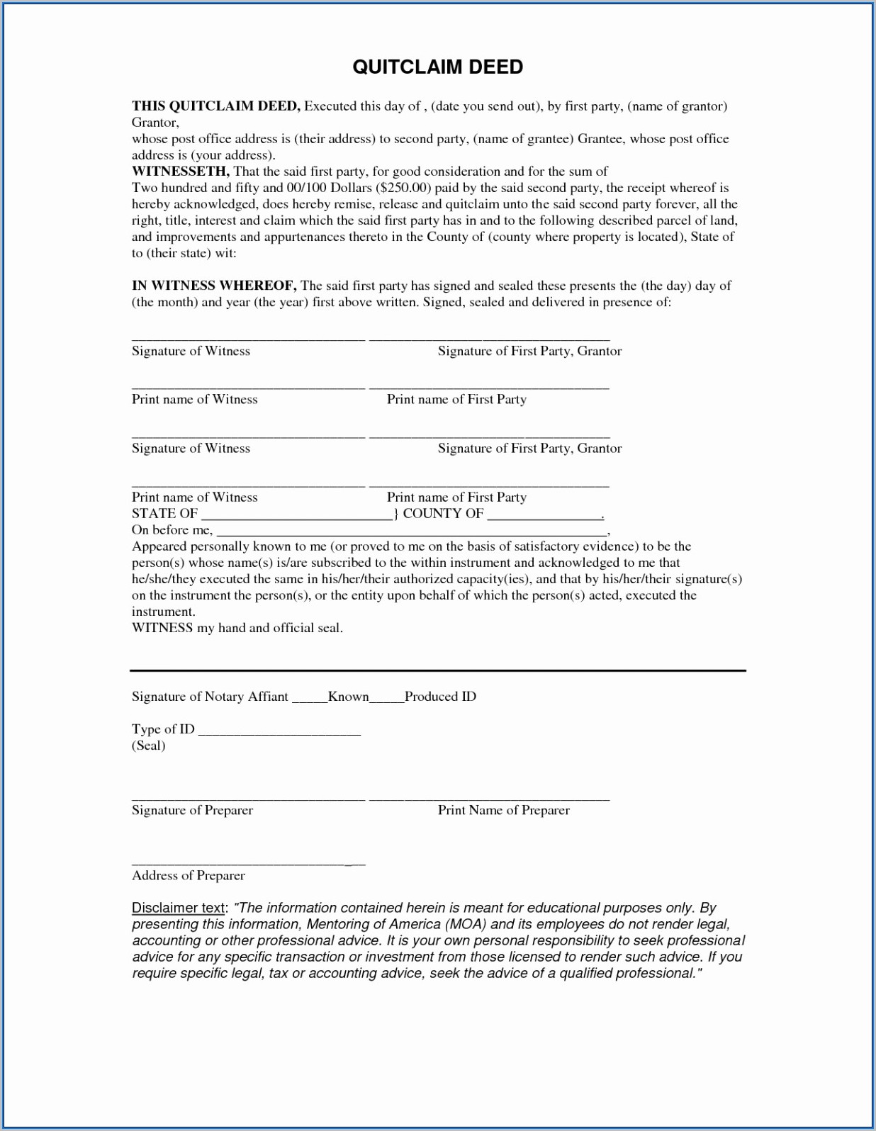 Blank Quit Claim Deed Form California