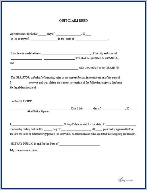 Blank Quitclaim Deed Form