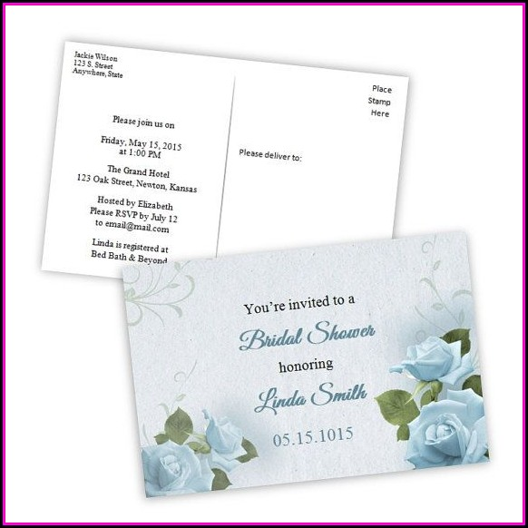 Bridal Shower Postcard Invitation Template