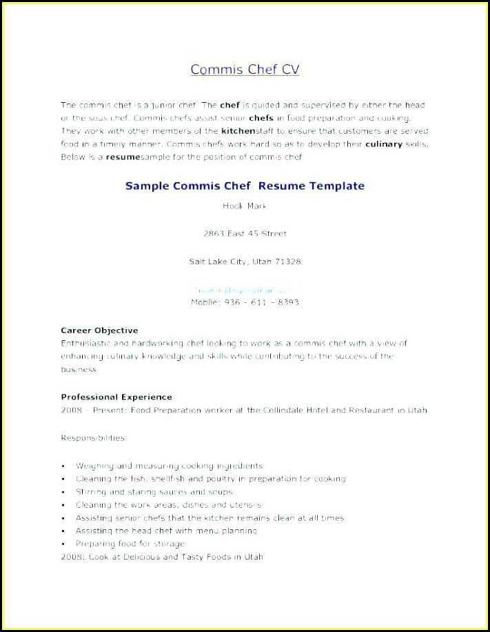Chef Resume Template Australia