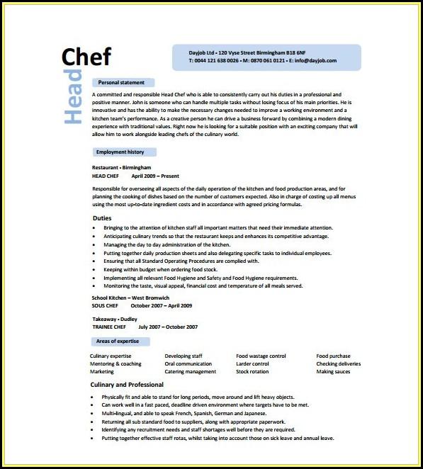 Chef Resume Templates