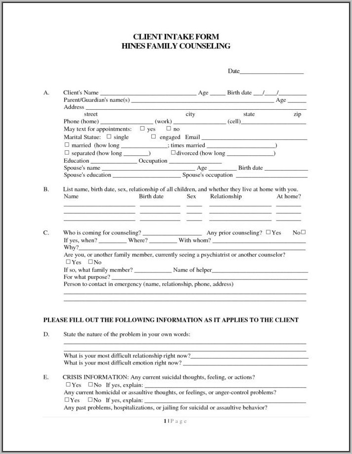 Christian Counseling Intake Form Template