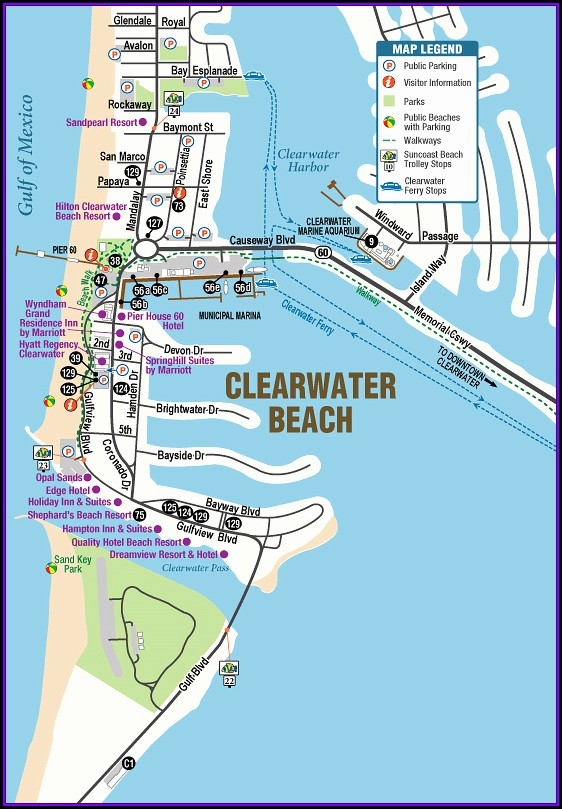 Clearwater Beach Fl Hotels Map