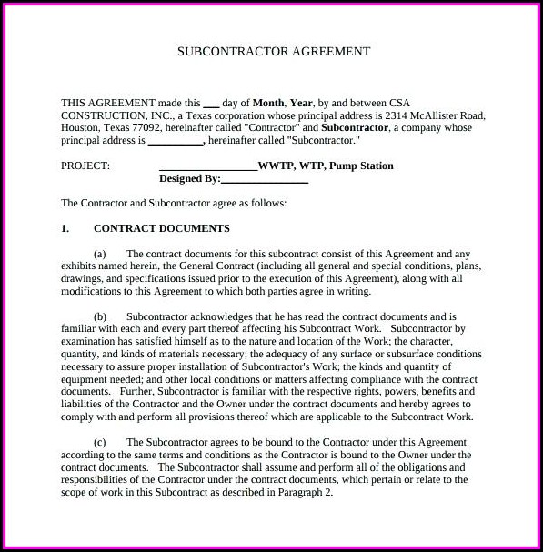 Construction Subcontractor Agreement Template Uk